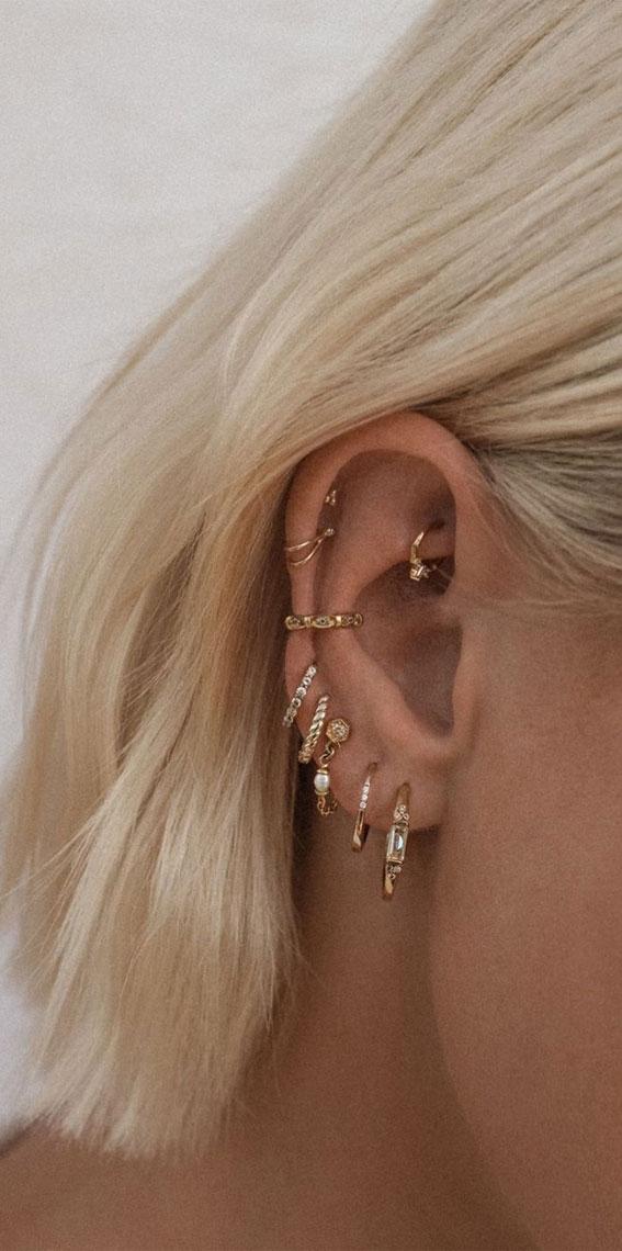 Hoop Stack + ear cluff : Best Curated Ear Piercing trend 2021