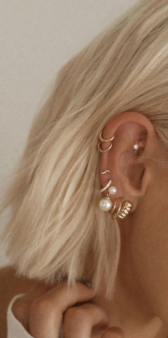 Beautiful stack of hoops: Best Curated Ear Piercing trend 2021