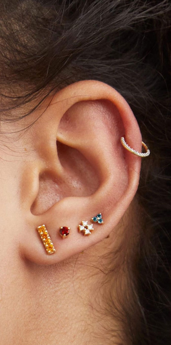 Beautiful Jewel Stud Stack: Best Curated Ear Piercing trend 2021