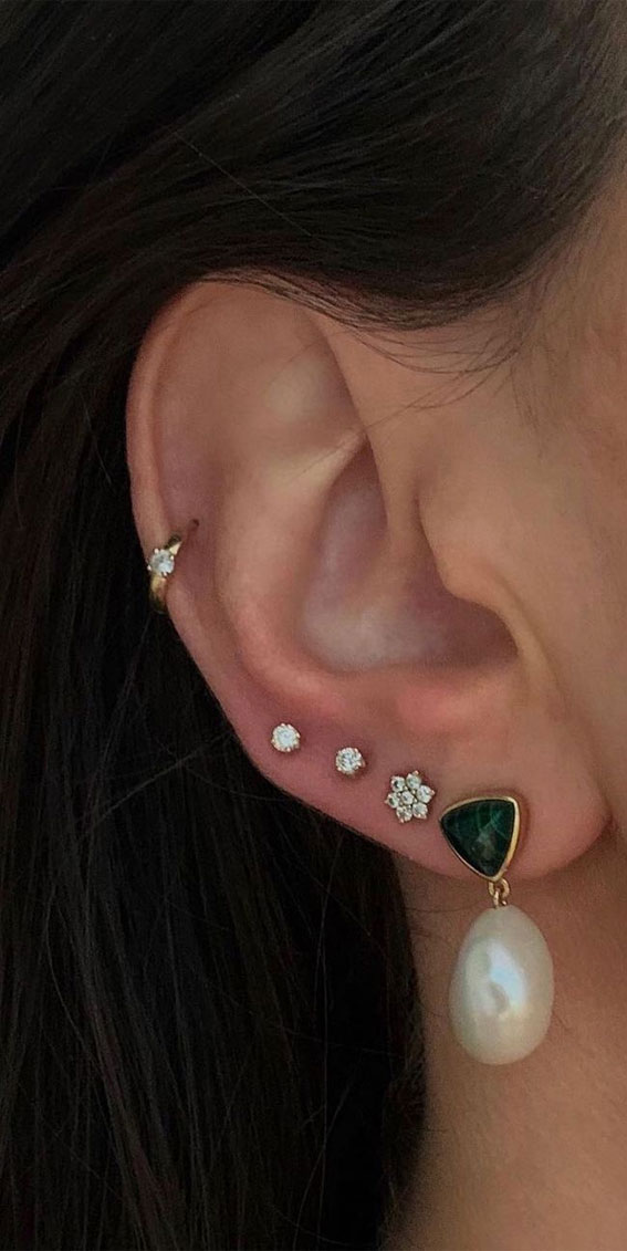 Beautiful stack of pearl hoop: Best Curated Ear Piercing trend 2021