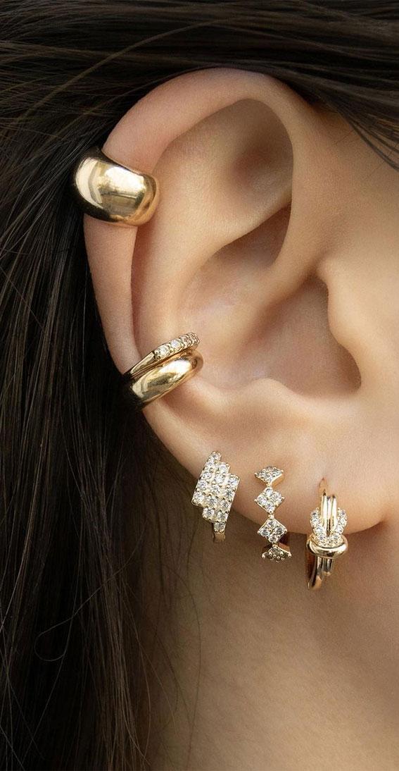 Diamanté huggie hoops : Best Curated Ear Piercing trend 2021