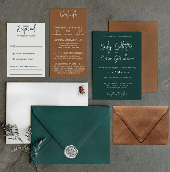 green wedding invitation, copper and green wedding invites, wedding invites, earthy wedding invites #weddinginvites