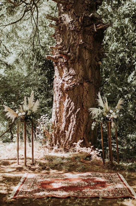 boho wedding decor, woodland wedding decor, forest wedding decor, bohemian wedding ceremony decor