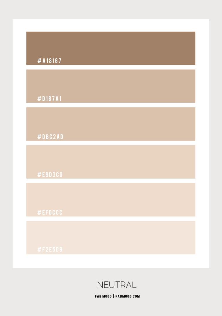 bež boja hex, neutralna paleta boja, bež, bež kombinacija boja, ombre neutralna #colorpalette #nudecolor