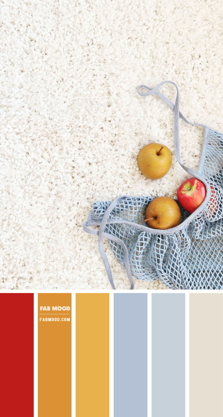 Blue grey, Mustard and Red Color Combo – Colour Palette 139