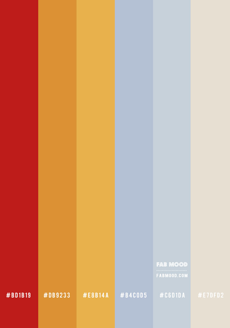 color hex, blue grey mustard and red color palette, soft autumn color palette, mustard and red, mustard and red color scheme , blue grey and mustard color combo #colorpalette #fallcolorpalette