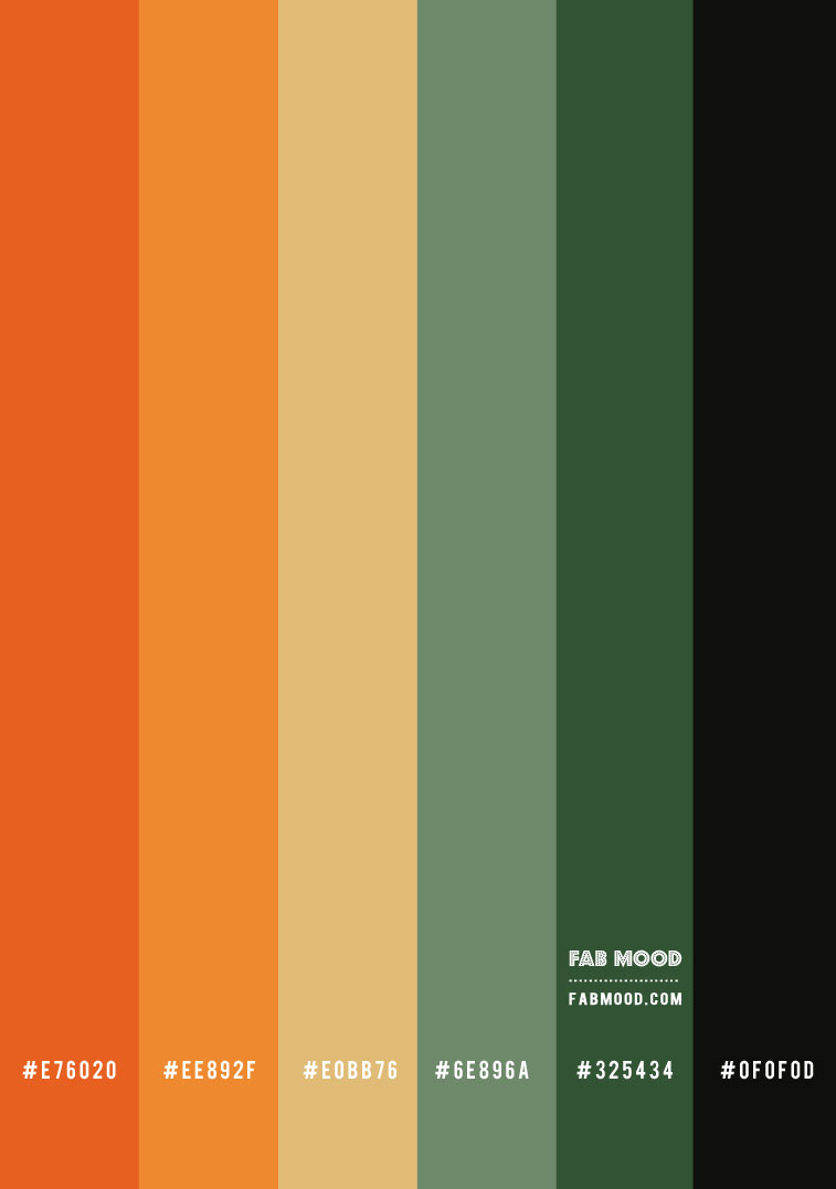 boja hex, zelena i narančasta papaja, zelena i izgarana narančasta, zelena i terakota shema boja, jesenska paleta boja #colorpaltte #colorscheme