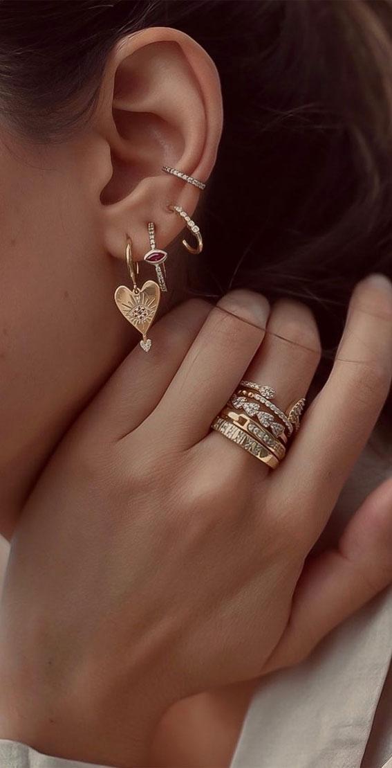 Heart hoop gold earrings : Best Curated Ear Piercing trend 2021