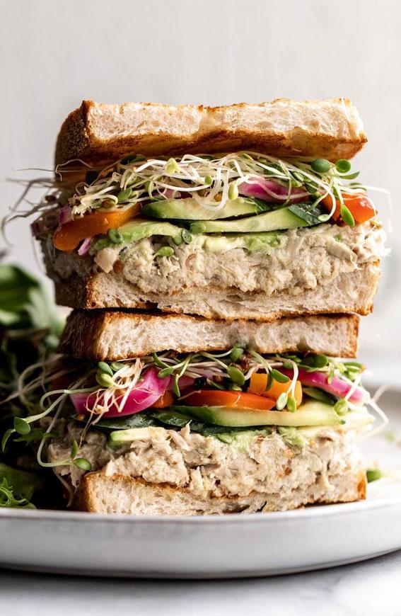 tuna sandwiches, sandwich ideas, sandwich fillings, cold sandwich ideas, lunch box ideas, lunch box sandwich ideas, on the go sandwiches, classic sandwiches, cold sandwich ideas for picnic , sandwich ideas for work #sandwichideas