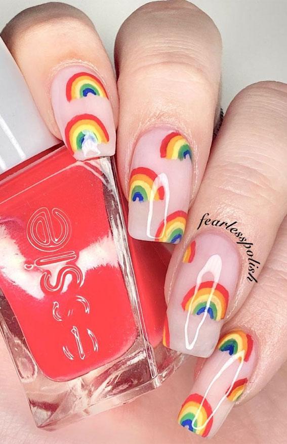 gel nails, pretty natural looking nails, rainbow nails, colorful rainbow nails, rainbow nude nails, rainbow sticker nails, easy rainbow nails, cute summer nails designs