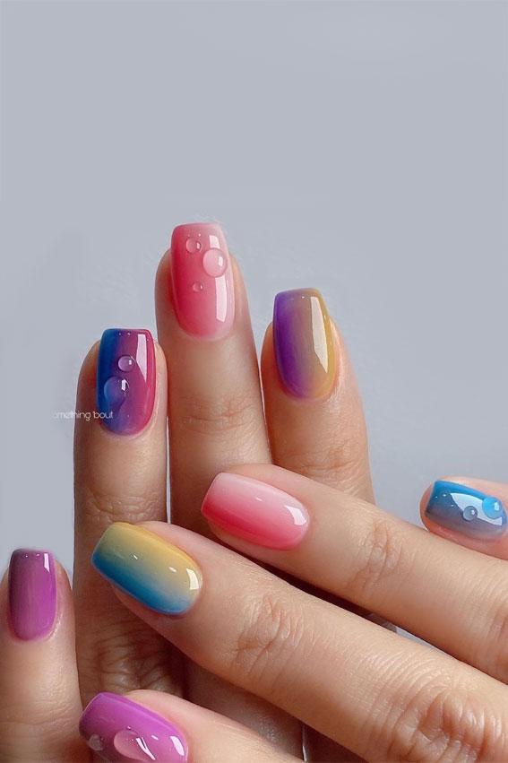gel nails, pretty natural looking nails, rainbow nails, colorful rainbow nails, rainbow nude nails, rainbow sticker nails, easy rainbow nails, cute summer nails designs, ombre rainbow nails, rainbow ombre nails