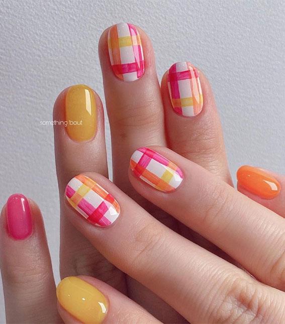 bright summer nails, tartan nails, tartan summer nails, pink and yellow tartan nails