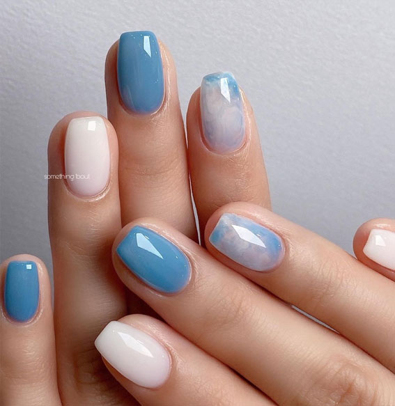 gel nails, pretty natural looking nails, rainbow nails, colorful rainbow nails, rainbow nude nails, rainbow sticker nails, easy rainbow nails, cute summer nails designs, ombre rainbow nails, tie dye blue nails, blue ombre nails