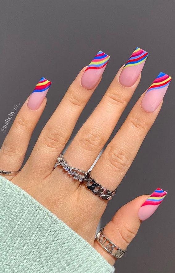 rainbow nails, rainbow tip nails, rainbow french nails, coffin long nails , french coffin nails