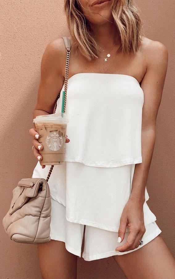 bijela ljetna haljina bez naramenica, višeslojna bijela haljina, ljetna bijela haljina, ljetna moda 2021, ljetna odjeća, ideje za ljetnu odjeću, ideje za bijelu haljinu