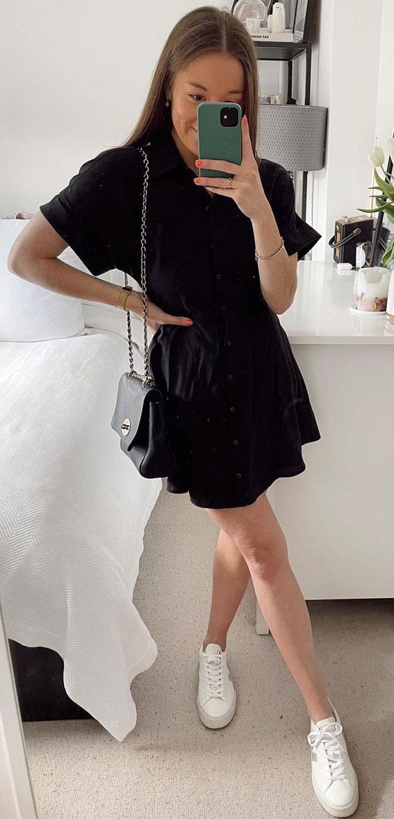jednobojna odjeća, crna haljina, ljetna haljina, jednostavni ljetni odjevni predmeti, ideje za ljetnu odjeću, ljetna moda 2021, crna haljina 2021