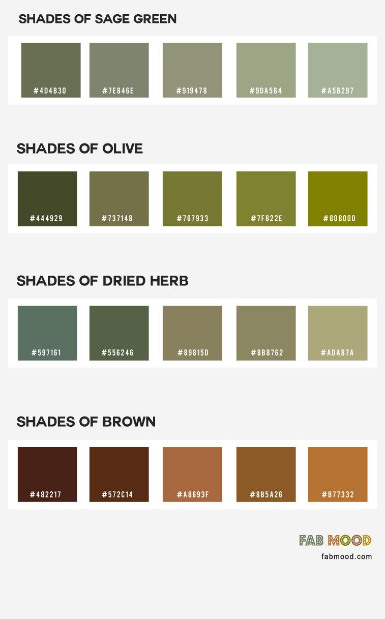 olive color, sage color, earth tone color palette, earth tone color names