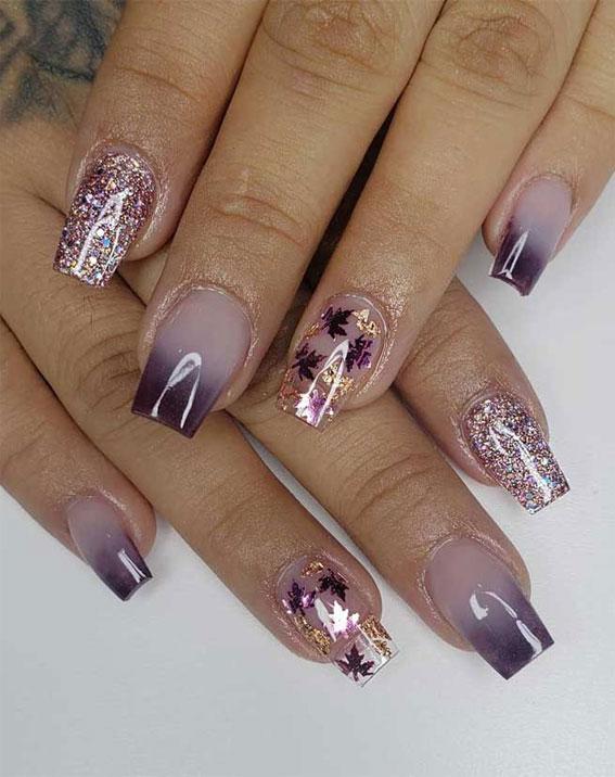 ombre nokti, jesenski nokti, ombre ljubičasti nokti, bistri nokti, jesenski dizajni noktiju 2021