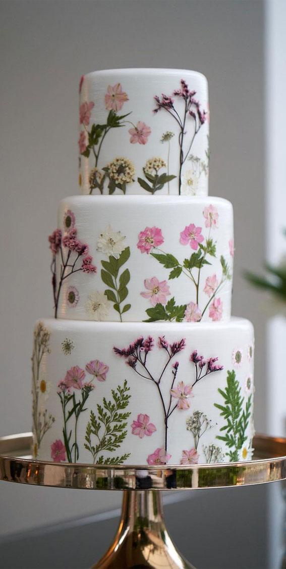 flower pressed cake, edible pressed flower cake, pressed flower cake, unique wedding cake