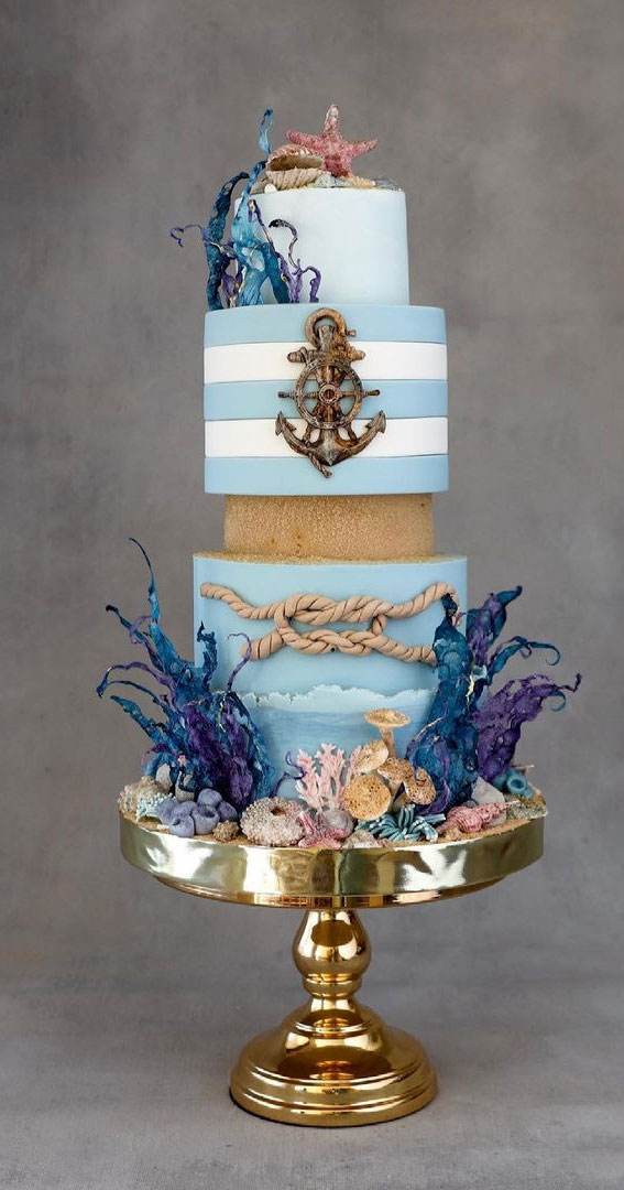 elegant beach wedding cake, ocean inspired wedding cake, nautical wedding cake , beach-themed wedding cake