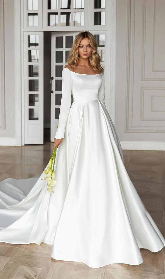 Vjenčanica s dugim rukavima, klasična vjenčanica, vjenčanice s balskim haljinama 2021