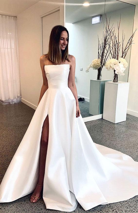 klasične vjenčanice 2021, vjenčanica bez naramenica, satenska vjenčanica