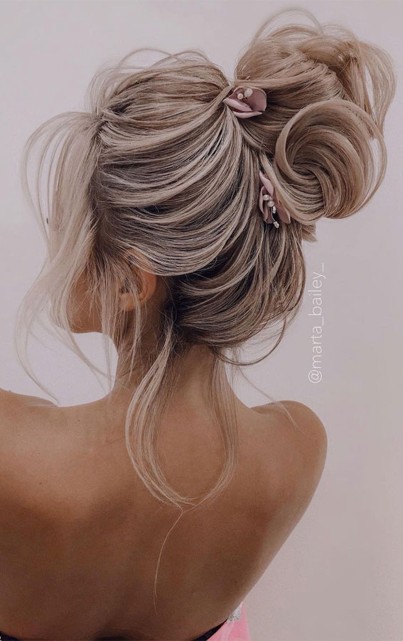 top bun wedding hairstyles, top knot wedding hairstyles, wedding hairstyles 2021, wedding hairstyles long hair, wedding hairstyles updo, wedding hairstyles medium hair