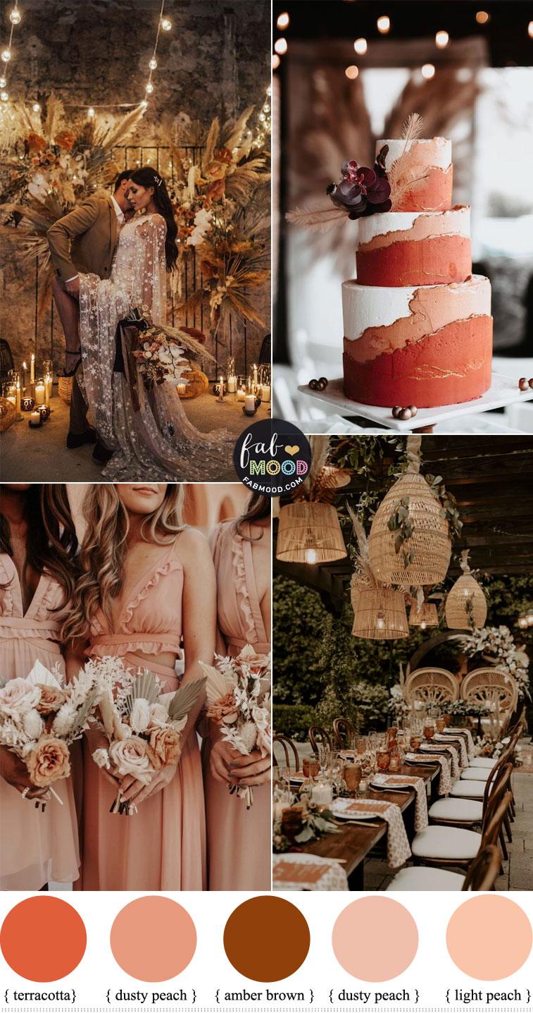 boho wedding decor, terracotta wedding color, boho wedding color theme, amber brown wedding, peach and terracotta wedding