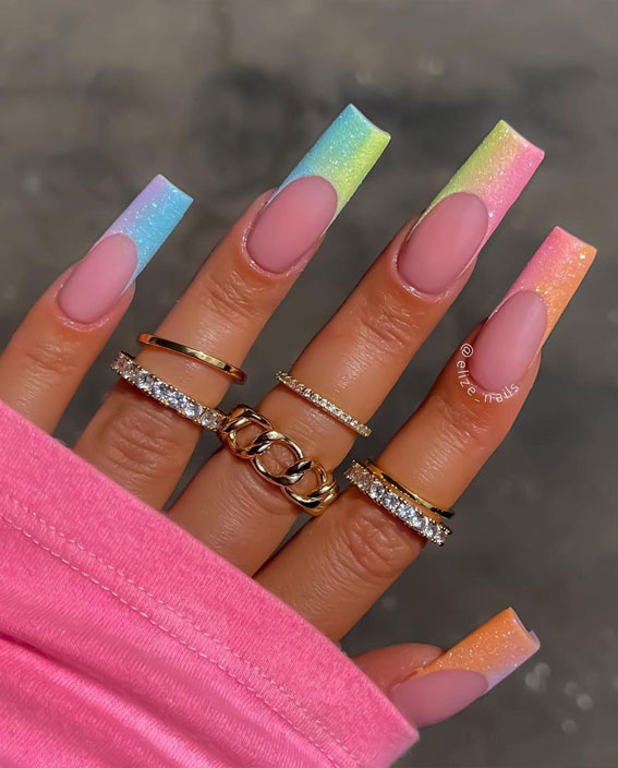 ombre summer nail tips, summer nails 2021 , summer nail trends 2021, 2021 nail colors by month, nails 2021 summer, summer nail ideas 2021, summer nails 2021 acrylic, nail colours summer 2021 uk, cute summer nails 2021, short summer nails 2021, bright summer nails 2021