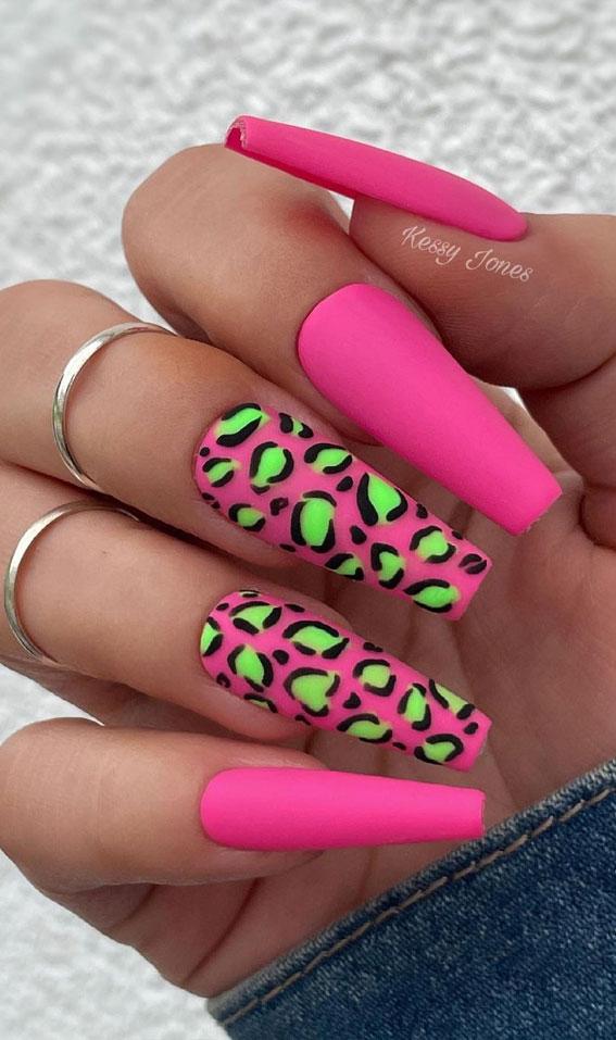 pink leopard nail art, neon green and pink cheetah nails, coffin nail art, acrylic leopard nail art designs, summer nail art designs