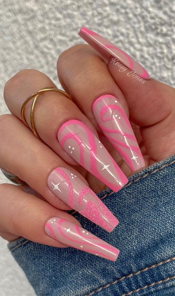 summer nail trends, pink swirl nail art, summer nails, coffin nail art designs, acrylic nail art designs