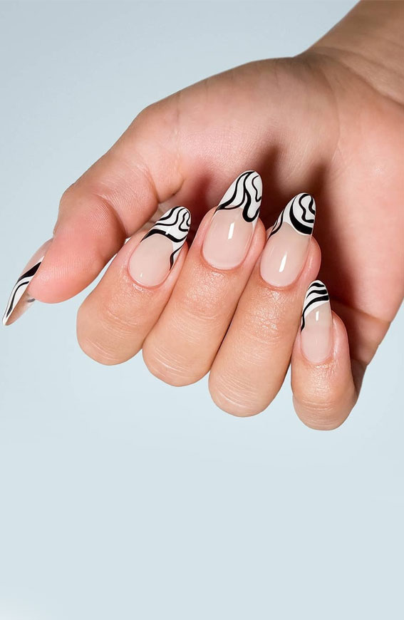 black and white french tips, black and white swirl tip nails, black and white nail art designs, black and white swirl tips, summer nail art designs, creative nail designs