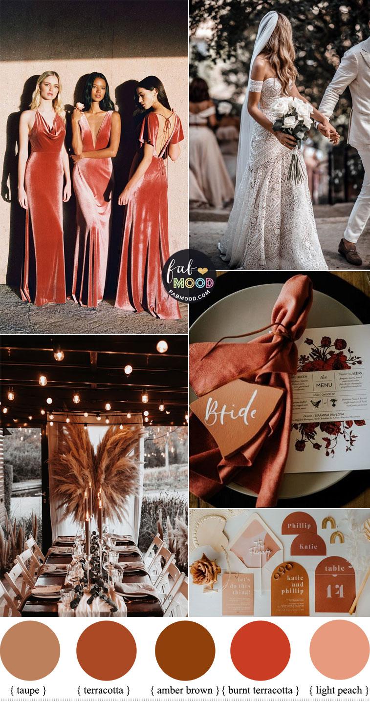 terracotta wedding, autumn wedding, terracotta wedding color scheme, terracotta wedding color theme