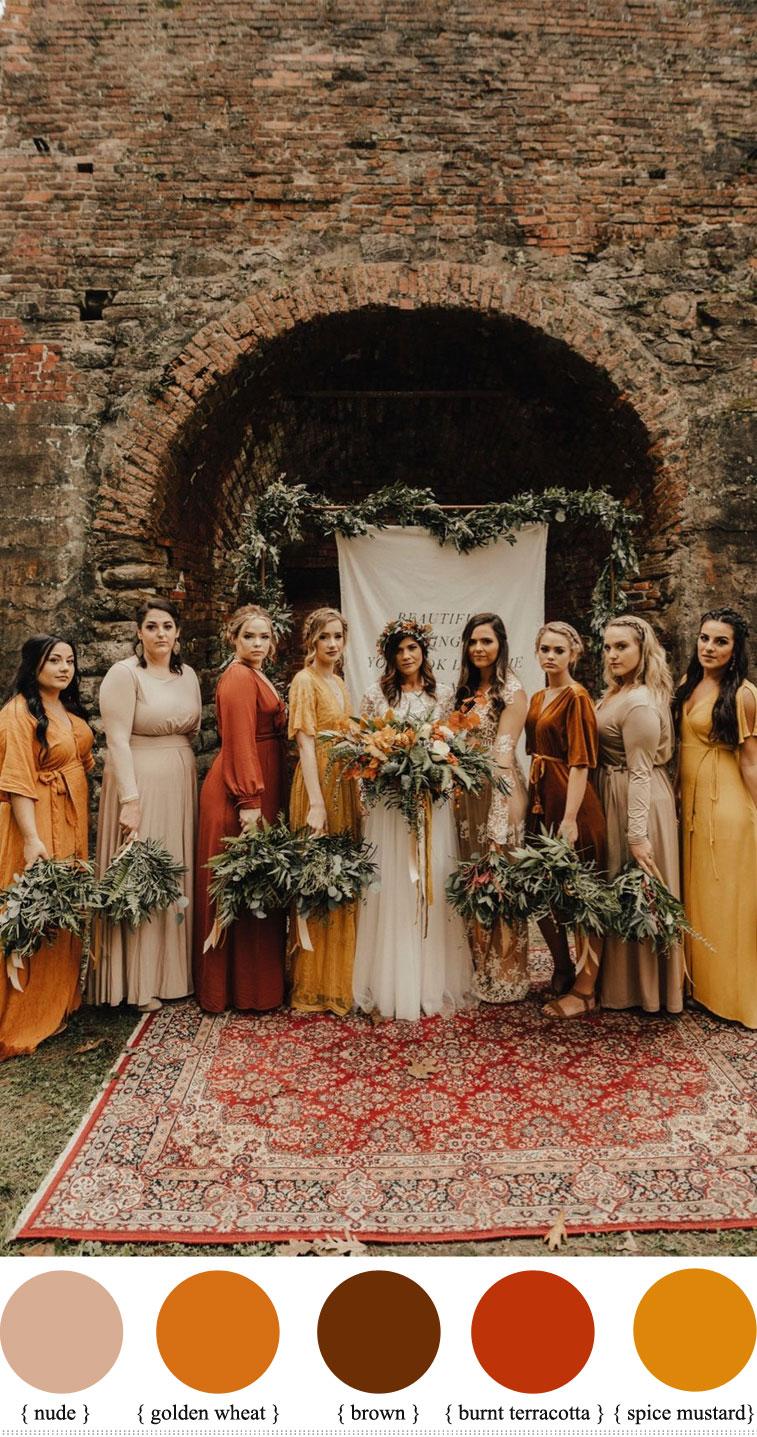 mix and match terracotta wedding, nude mustard and terracotta wedding ,autumn wedding, terracotta wedding