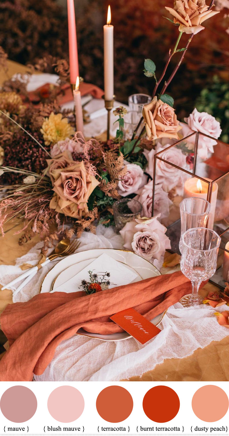 mauve and terracotta wedding, mauve and terracotta , mauve peach and terracotta color combos