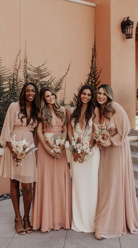 peach bridesmaid dresses, bridesmaid dresses, autumn bridesmaid dress ideas, dusty peach bridesmaids
