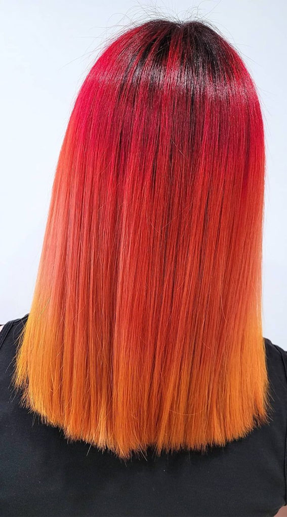 red and orange two tone hair color, fall hair color , colorful fall hair color ideas, two tone hair color ideas 2021