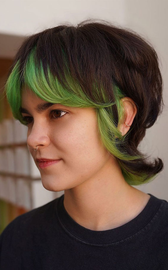 shag mullet hair cut, dark hair with green ends, two tone hair color, brown and green hair color