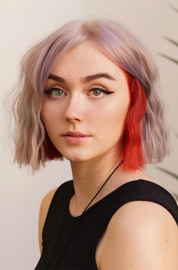 blonde and red two tone hair color, two tone color ideas 2021, blonde hair with red streaks