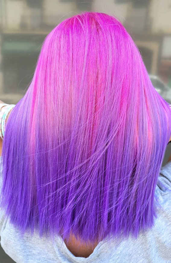 pink and purple two tone hair color, two tone hair color ideas, hair color trends 2021, fall hair color trends 2021
