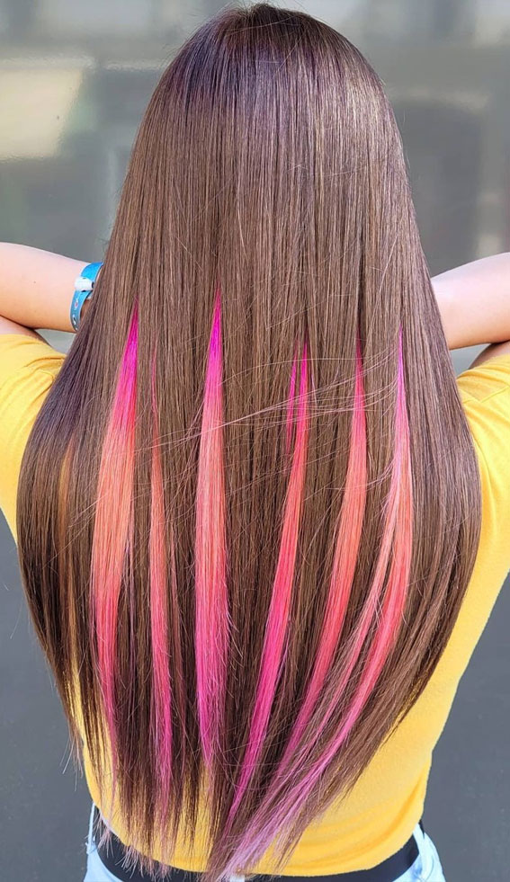 brown and ombre pink two tone hair color, two tone hair color trends, summer hair color trends, summer hair color ideas