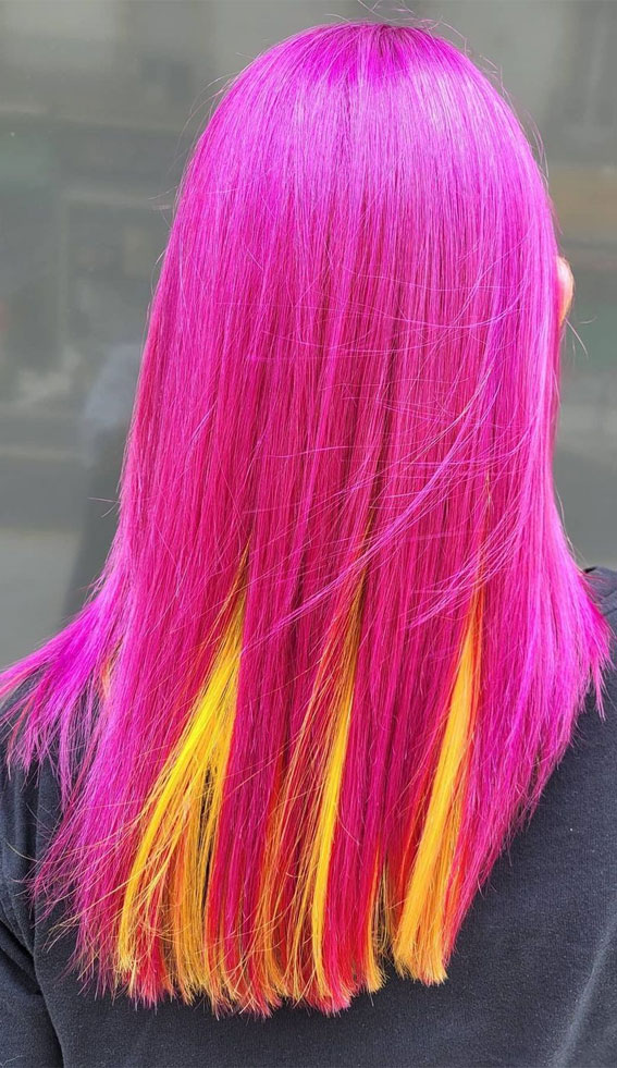 hot pink and yellow two tone hair color, two tone hair color ideas