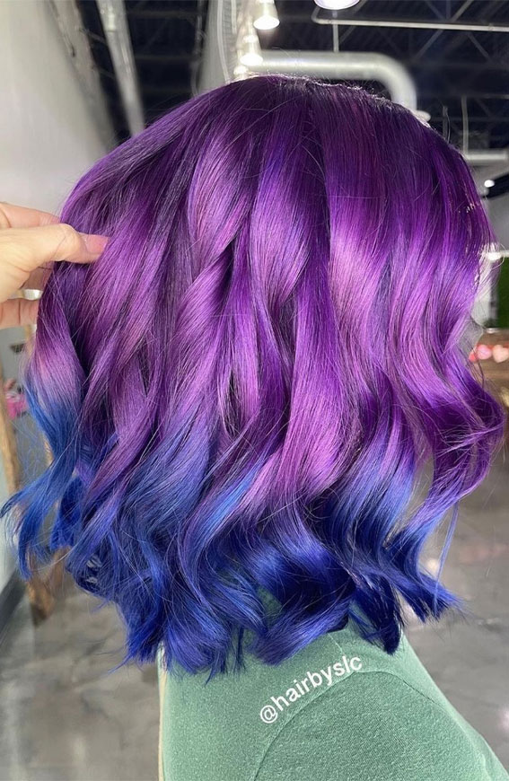 purple and blue two tone hair color, blue and purple two tone hair color ideas