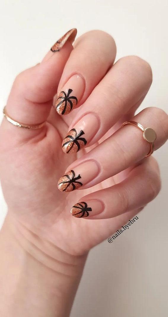 pumpkin tip nails, halloween nails pumpkin, glittery pumpkin nails, best halloween nails 2021, autumn nails