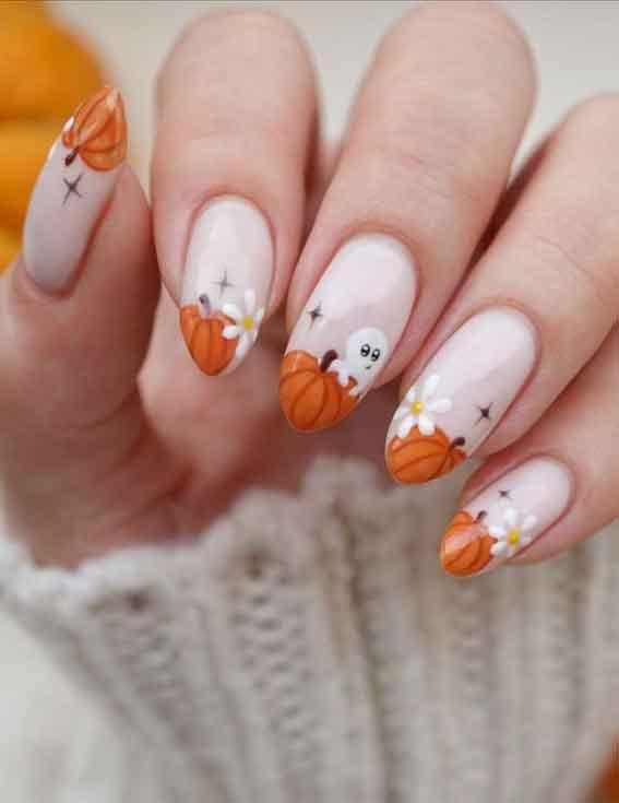 pumpkin tip nails, cute halloween natural nails, halloween nails, halloween nail art, halloween nail designs 2021, halloween nails acrylic, halloween nails pumpkin, halloween nails coffin