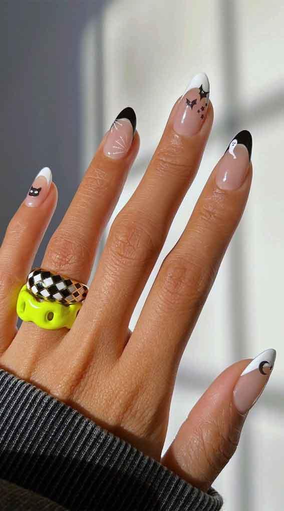 black and white halloween nails, cute halloween natural nails, halloween nails, halloween nail art, halloween nail designs 2021, halloween nails acrylic, halloween nails pumpkin, halloween nails coffin