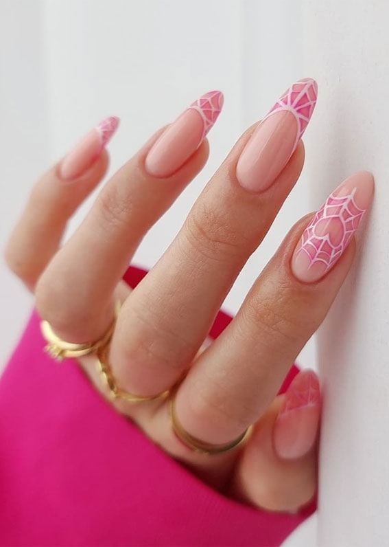pink spider web french tip nails, halloween nails 2021, modern halloween nails, modern french manicure halloween