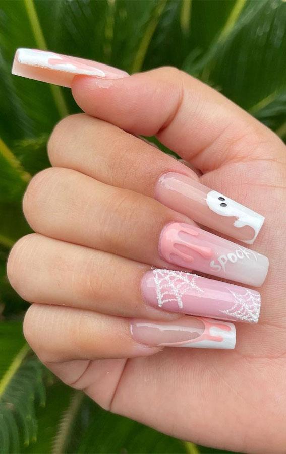 cute halloween natural nails, halloween nails, halloween nail art, halloween nail designs 2021, halloween nails acrylic, halloween nails pumpkin, halloween nails coffin
